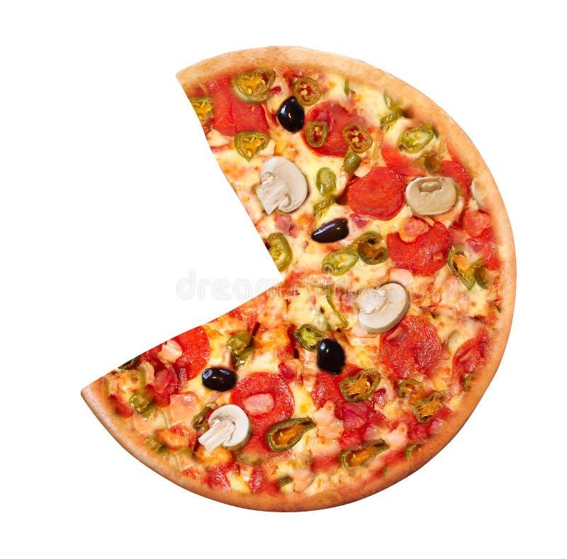 Hoge Hoekmening van Verse Gebakken Pizza stock foto