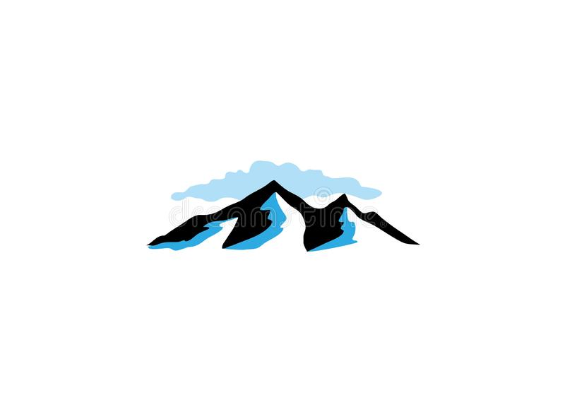 Hoge ijzige bergen en wolk voor embleem vector illustratie