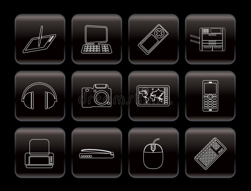 Hoge lijn - technologie technische apparatuur pictogrammen stock illustratie