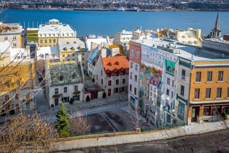 Hoge mening van Quebec Fresco Fresque des Quebecois - de Stad van Quebec, Canada royalty-vrije stock afbeeldingen