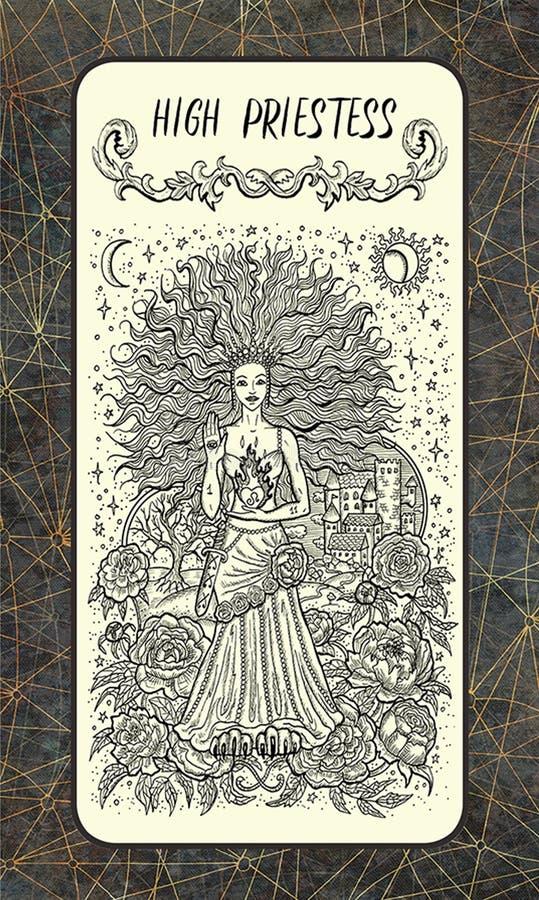 Hoge priestess Major Arcana Tarot Card vector illustratie