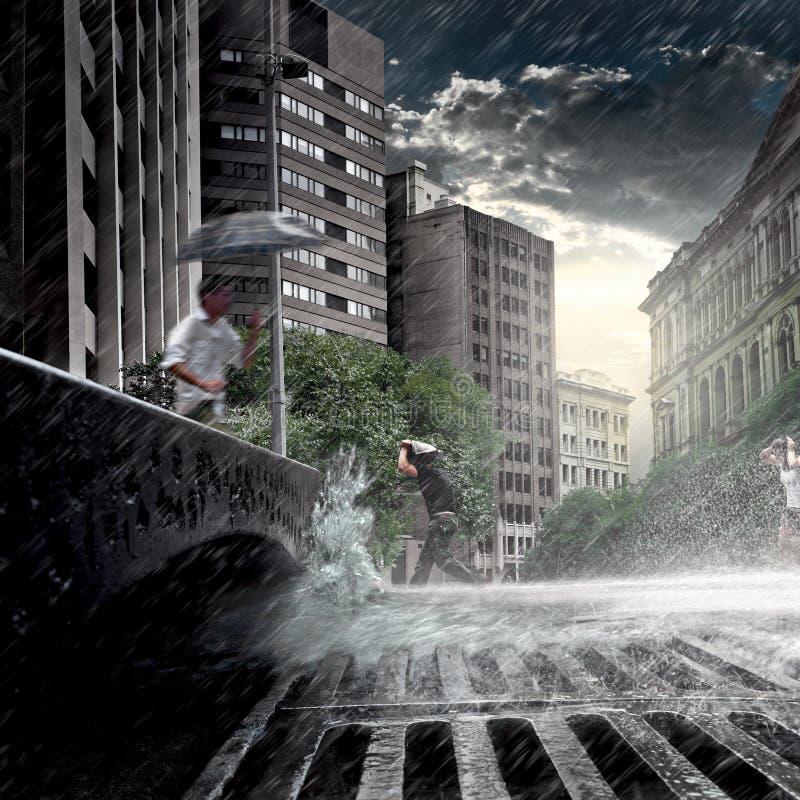 Hoge Resolutie Regenachtige Dag in een Grote Stad stock afbeeldingen