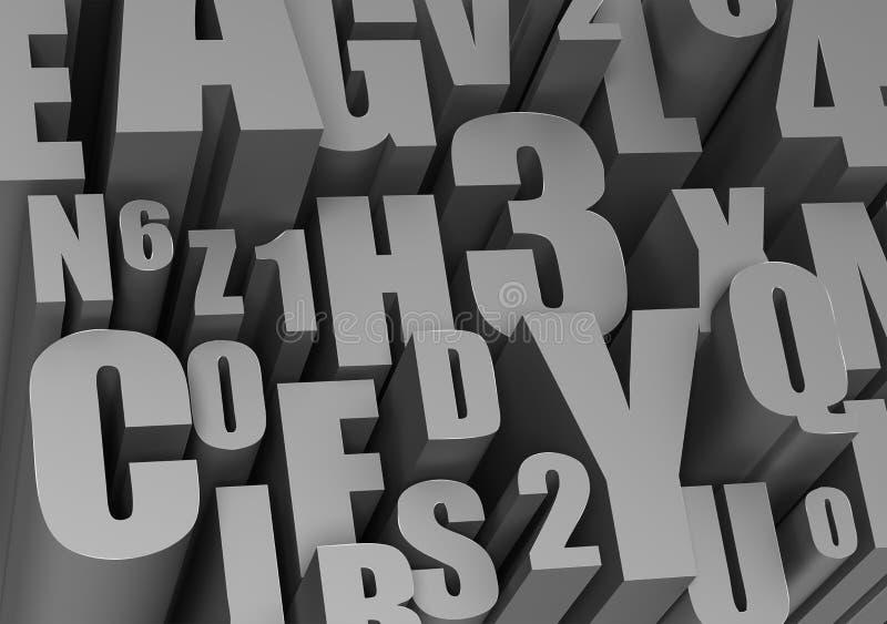 Hoge resolutiebeeld 3D teruggegeven illustratie Achtergrond van brieven vector illustratie