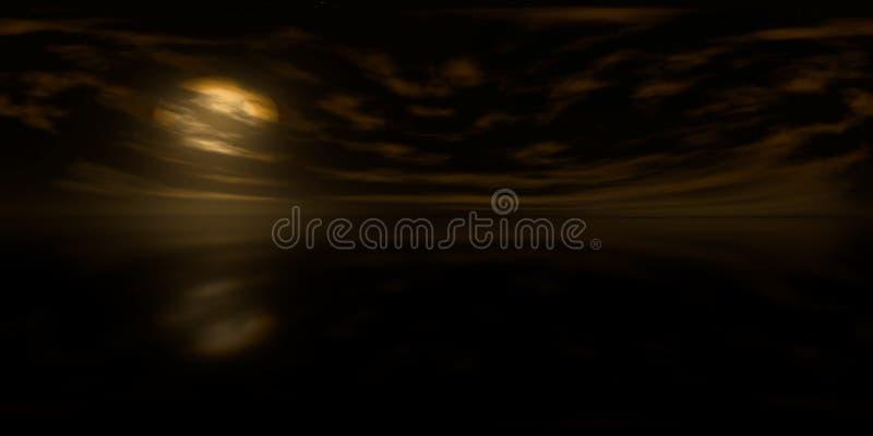 Hoge resolutiehdri kaart: milieukaart voor equirectangular projectie bij zonsopgang, sferisch panorama, 3d illustratie backgroun stock foto's