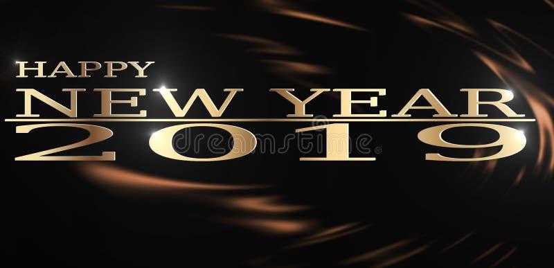 Hoge resolutieillustratie van Gelukkige Nieuwjaar 2019 begroetende Gouden spat op donkere Vloeibare chocoladeachtergrond royalty-vrije illustratie
