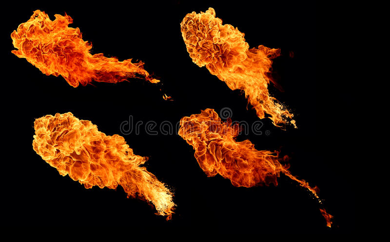Hoge resolutieinzameling van vlam, vier grote geïsoleerde vlammen royalty-vrije stock foto's