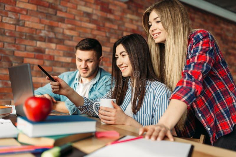Hoge schoolstudenten die op laptop samen kijken royalty-vrije stock foto's