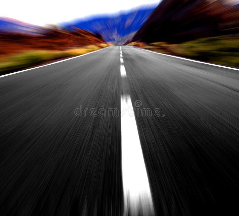 Hoge snelheid op de weg stock afbeelding