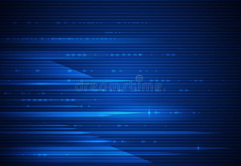 Hoge snelheidsbeweging en motieonduidelijk beeld over donkerblauwe achtergrond Futuristisch, hallo technologie-technologieconcept royalty-vrije illustratie