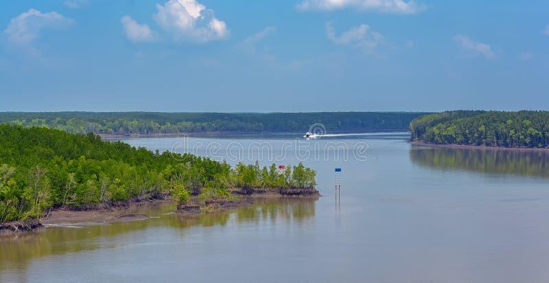 Hoge snelheidsboot op rivier stock afbeeldingen