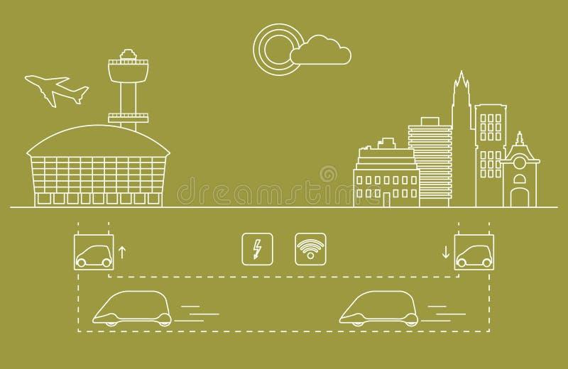 Hoge snelheidsvervoer van passagiers van de stad aan de luchthaven Wetenschappelijke en technische vooruitgang Nieuwe Technologie stock illustratie
