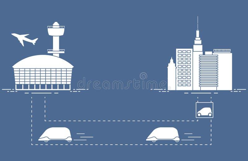 Hoge snelheidsvervoer van passagiers van de stad aan de luchthaven Wetenschappelijke en technische vooruitgang Nieuwe Technologie royalty-vrije illustratie