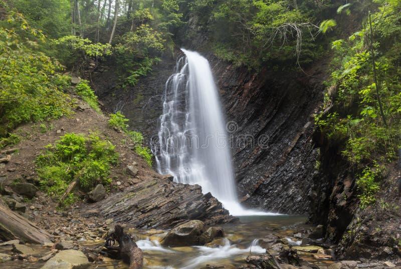 Hoge waterval in de bosafzettingsgesteenten, geologische lagen op de banken royalty-vrije stock afbeelding