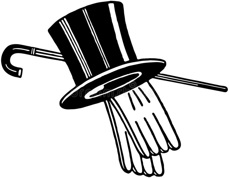 Hoge zijdenhandschoenen en Riet royalty-vrije illustratie