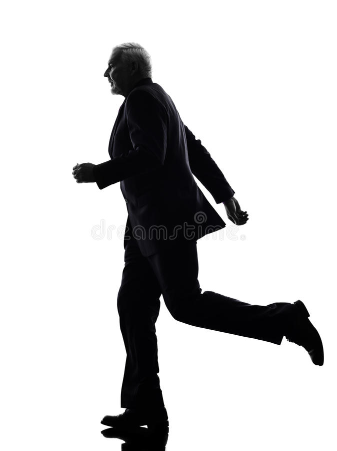 Hoger bedrijfsmensen lopend silhouet royalty-vrije stock foto's
