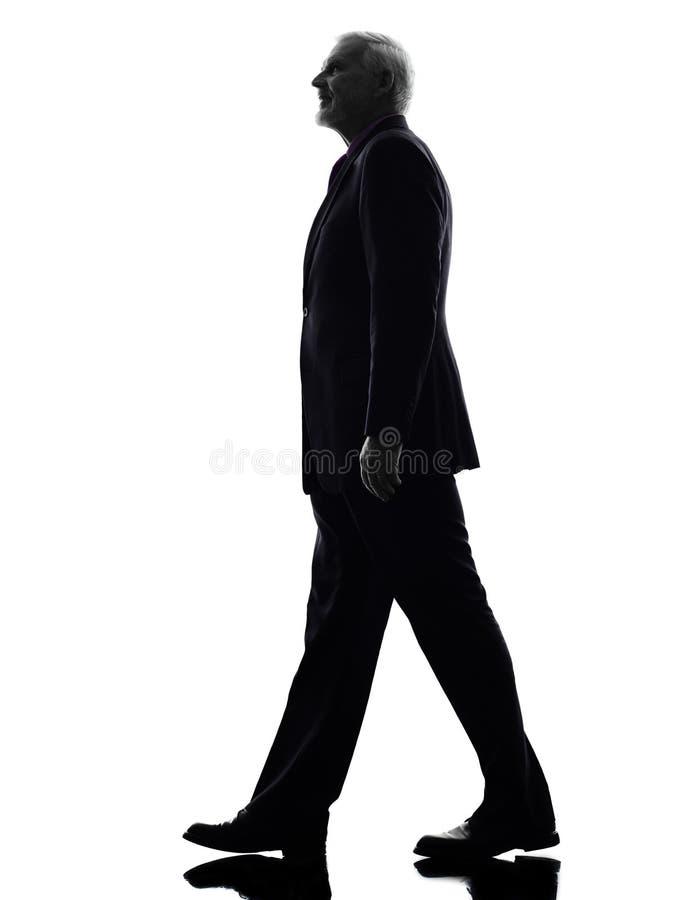 Hoger het bedrijfsmens lopen silhouet stock afbeelding