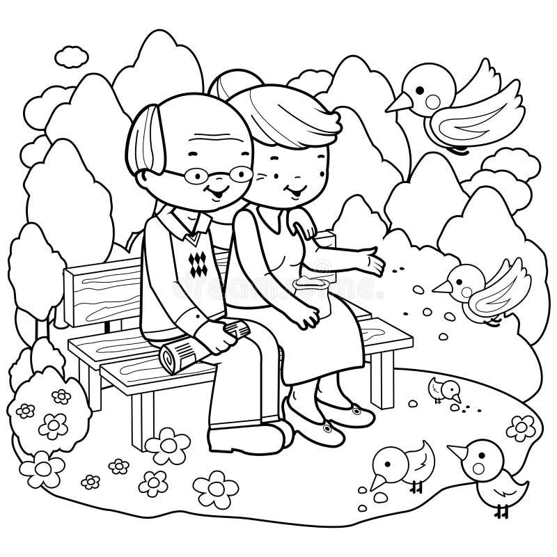 Hoger paar bij het park Kleurende boekpagina vector illustratie