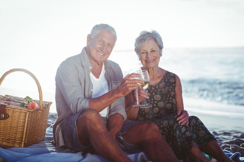 Hoger paar dat een picknick heeft royalty-vrije stock afbeelding