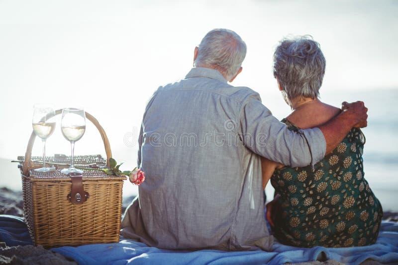 Hoger paar dat een picknick heeft royalty-vrije stock foto's