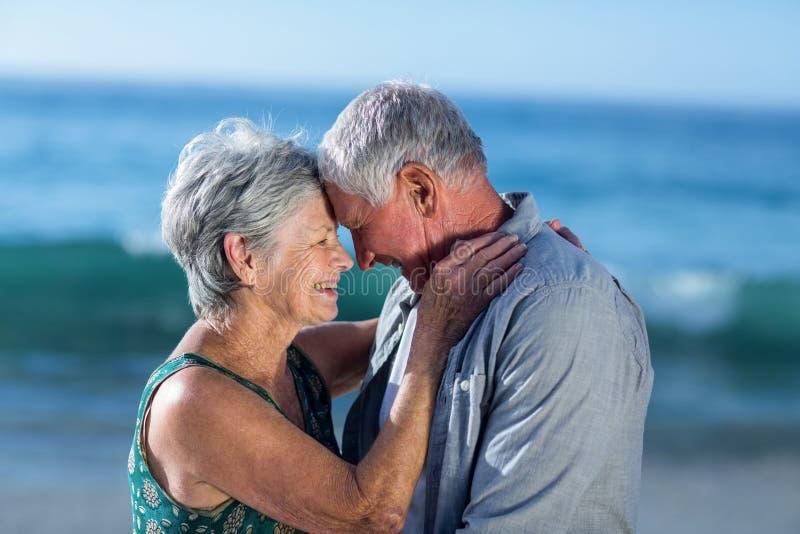 Hoger paar die bij het strand omhelzen stock foto