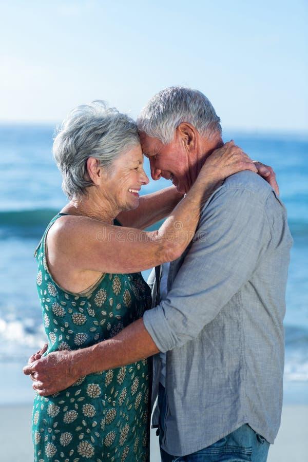 Hoger paar die bij het strand omhelzen stock foto's