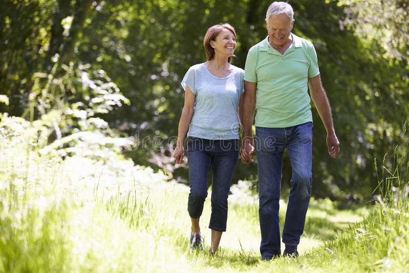 Hoger Paar die in de Zomerplatteland lopen stock afbeeldingen