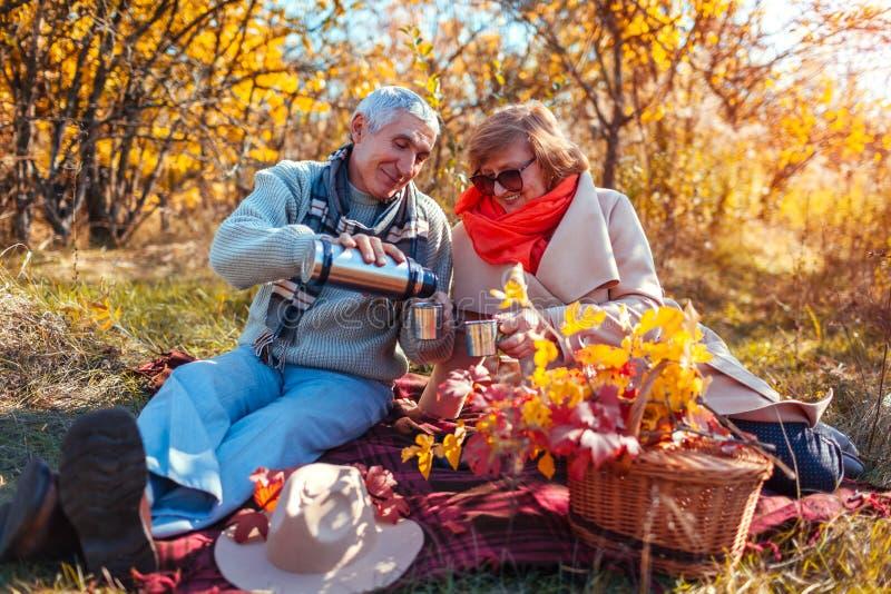 Hoger paar die thee in de de herfst bos Gelukkige mens en vrouw hebben die van picknick en aard genieten royalty-vrije stock afbeelding