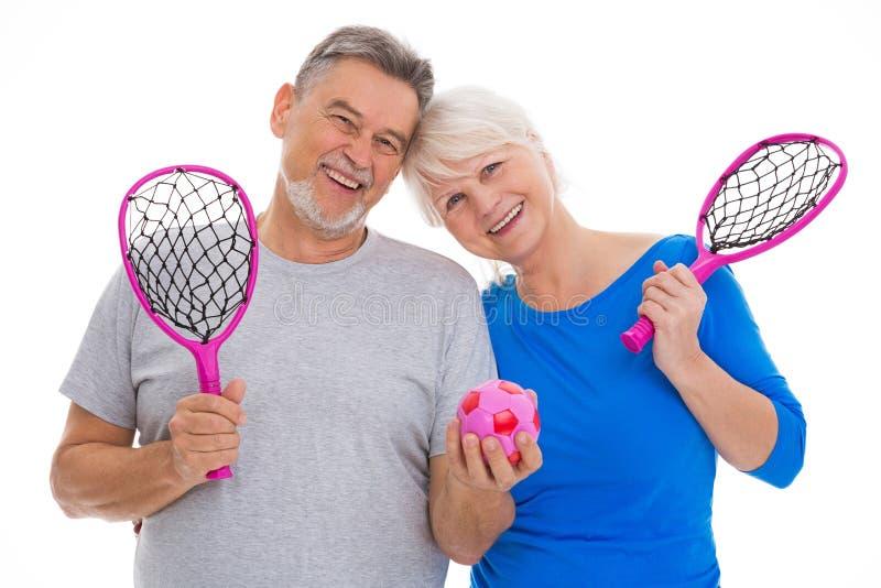 Hoger paar met rackets stock afbeelding