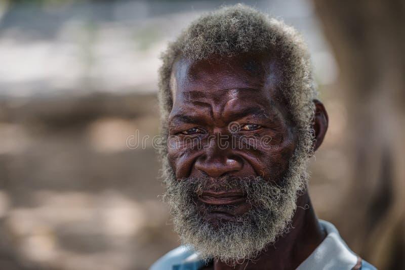 Hoger portret Zwarte oude mens van Havana, Cuba stock foto's