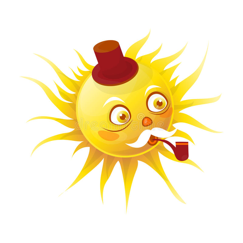 Hoger zonkarakter met pijp en in hoed stock illustratie