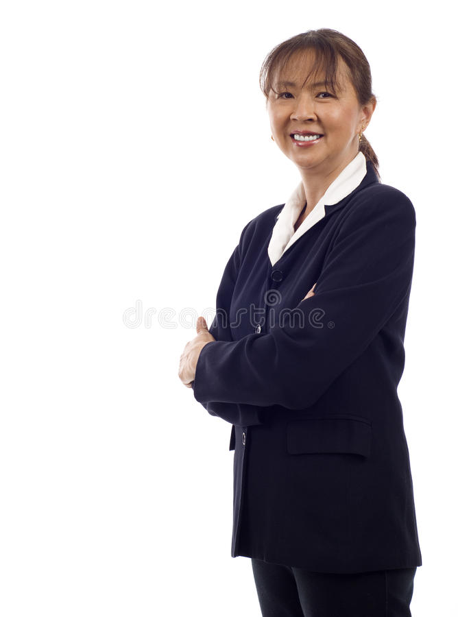 Hogere Aziatische BedrijfsVrouw stock afbeeldingen