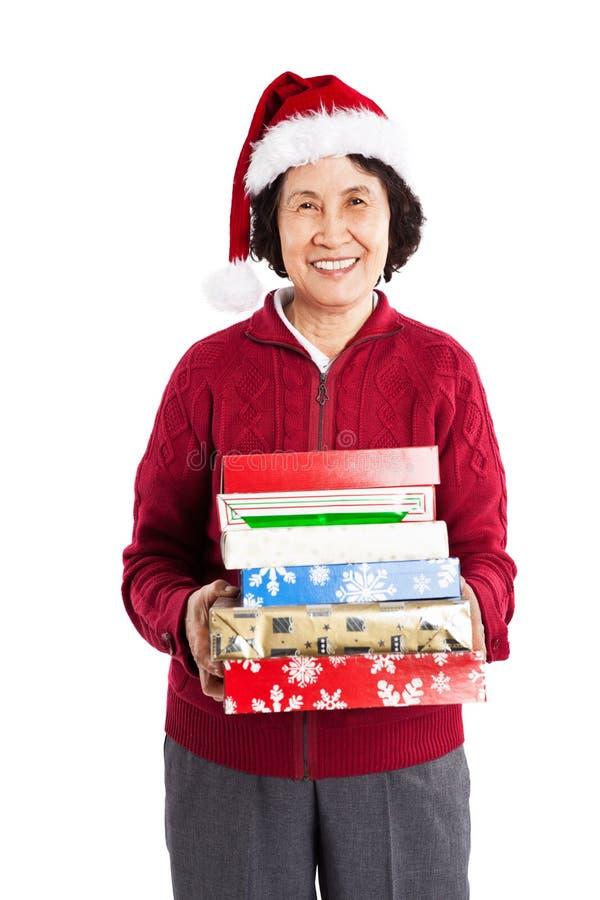 Hogere Aziatische het vieren Kerstmis stock fotografie