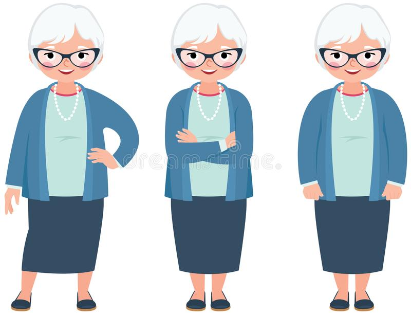 Hogere bejaarde grijze haired vrouw op een witte achtergrond in volledig l royalty-vrije illustratie