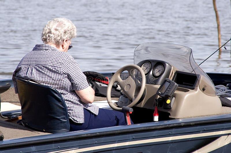 Hogere Dame Fishing royalty-vrije stock foto