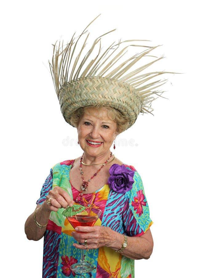 Hogere Dame op Vakantie royalty-vrije stock afbeeldingen