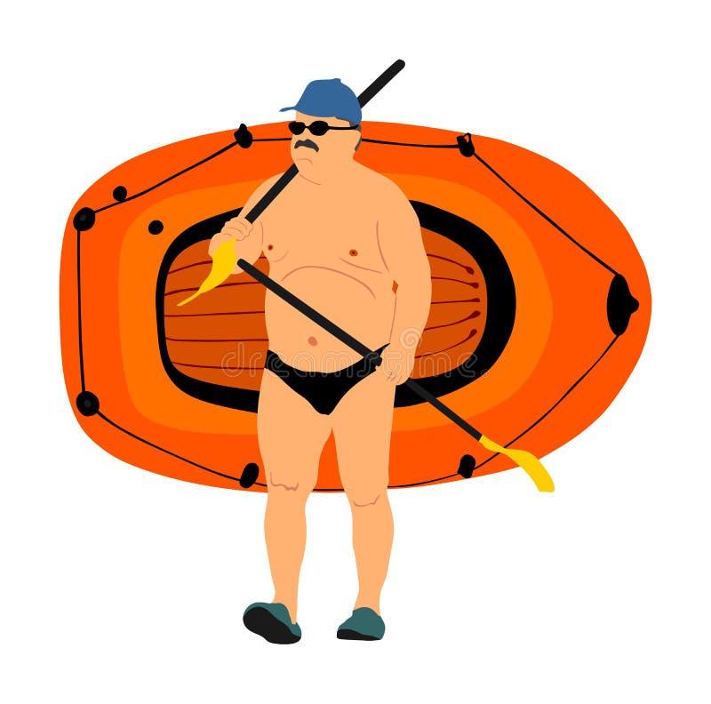 Hogere de boot rubberboot van de mensen dragende rij en peddelsillustratie Strand grappige dag Rijpe mens die zonnebaden, stock illustratie