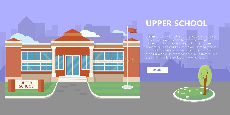 Hogere de Schoolbouw Vector in Vlak Stijlontwerp royalty-vrije illustratie