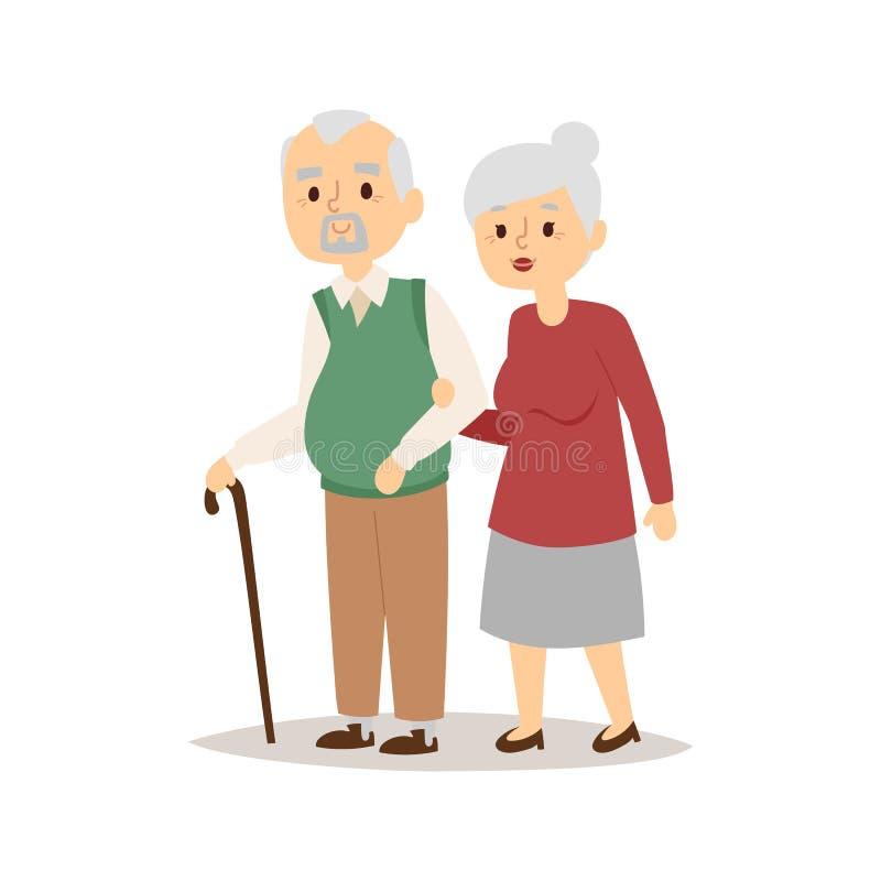 Hogere gelukkige van de verhoudingskarakters van het paarbeeldverhaal de levensstijl vectorillustratie ontspannen vrienden royalty-vrije illustratie