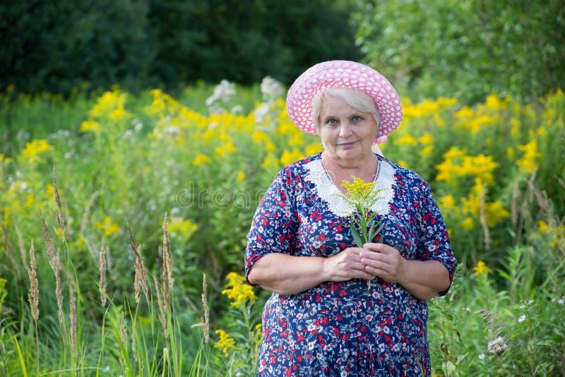Hogere grootmoeder openlucht royalty-vrije stock afbeelding