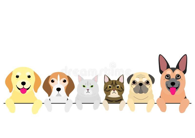 Hogere honden en katten Ain een rij vector illustratie