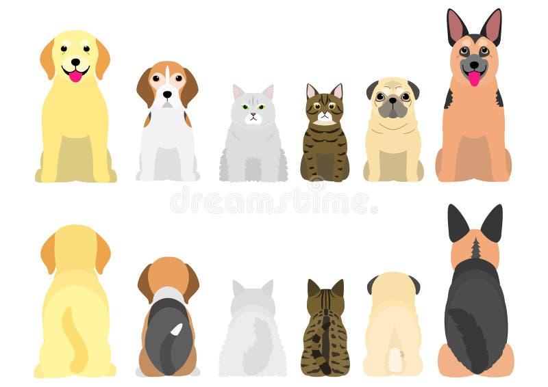 Hogere honden en katten op een rij, voorzijde en rug vector illustratie