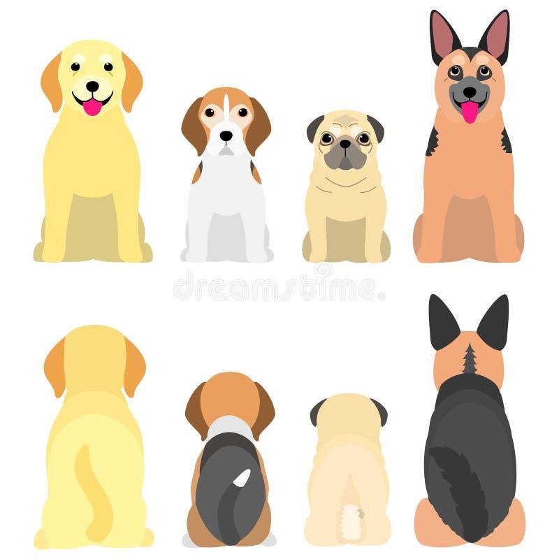 Hogere honden op een rij, voorzijde en rug royalty-vrije illustratie