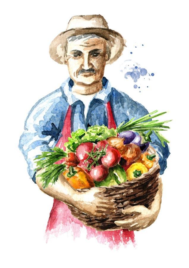 Hogere landbouwer met vers geplukte groenten in mand Waterverfhand getrokken illustratie royalty-vrije illustratie