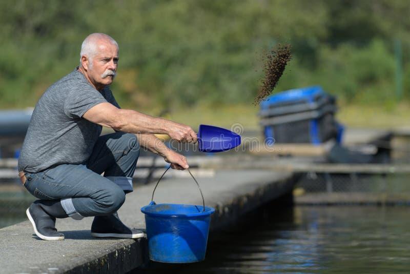 Hogere mannelijke vissenlandbouwer royalty-vrije stock foto's