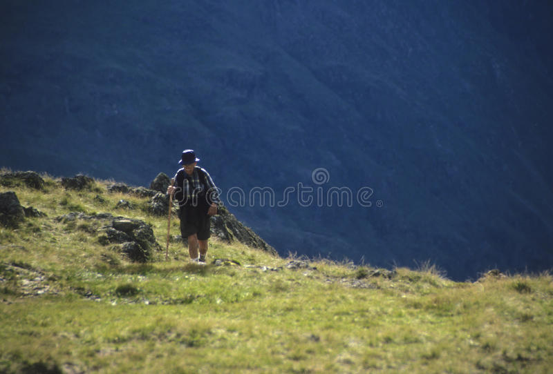 Hogere mens die in bergen wandelt stock foto's