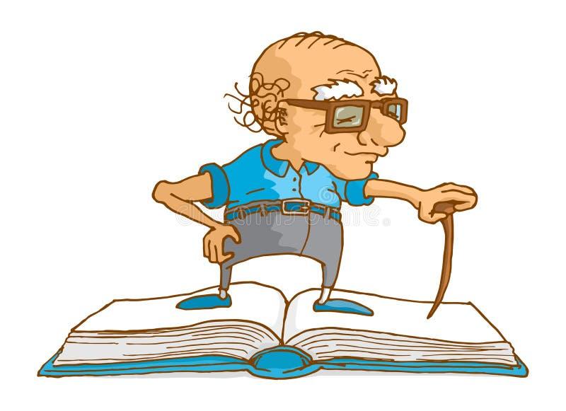 Hogere mens die zich op boek als wijsheid of kennis bevinden royalty-vrije illustratie