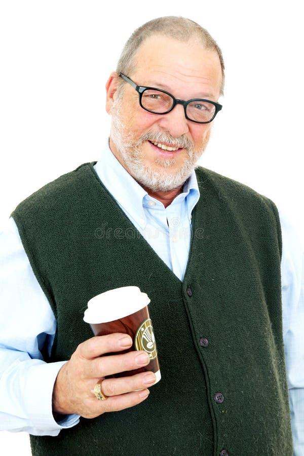 Hogere mens met koffie stock foto's
