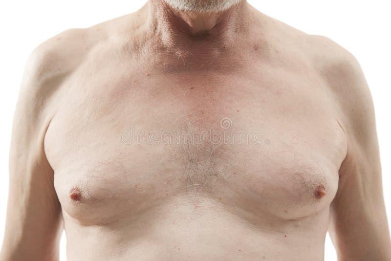 Hogere mens met naakt torso royalty-vrije stock afbeelding