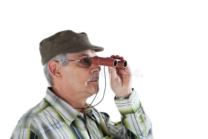 Download Hogere Mens Met Verrekijkers Stock Foto - Afbeelding bestaande uit besnoeiing, looking: 10782668