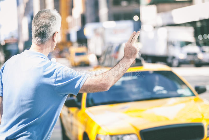 Hogere Mens in New York stock afbeelding